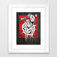 Mayhem Ape (Black on Red) Framed Art Print