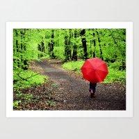 rainy woods Art Print