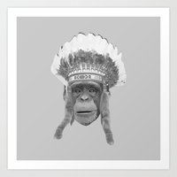 Indian Headdress Monkey Art Print