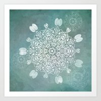 Turquoise Batik Mandala … Art Print