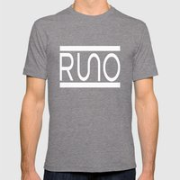 Rue Nothing RUNO Logo White Mens Fitted Tee Tri-Grey SMALL