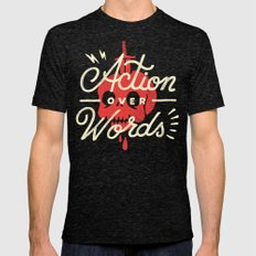 Action Over Words Mens Fitted Tee Tri-Black SMALL