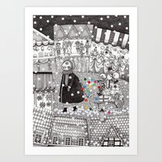 After Hours at the Christmas Market Art Print