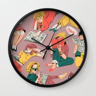 Wall Clock featuring Reading Gals by K.b. Doodles