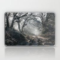 Rays of sunlight on a frost covered track through misty woodland. Norfolk, UK. Laptop & iPad Skin
