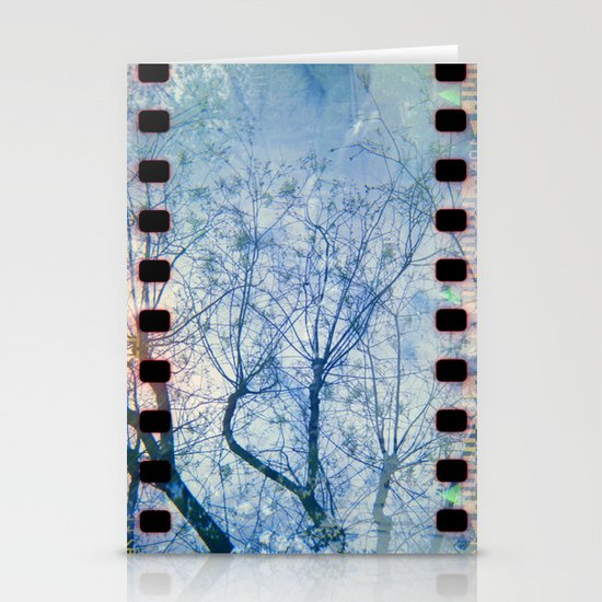 Blue Winter Blossoms  Stationery Card