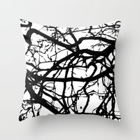 Black Branches Throw Pillow