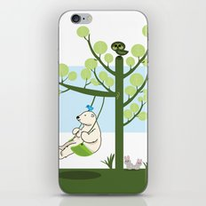 Polar bear play a swing iPhone & iPod Skin
