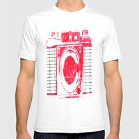 Red Camera Mens Fitted Tee White SMALL