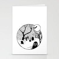 Halloween graveyard Stationery Cards
