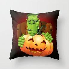 Frankenstein Monster Cartoon with Pumpkin Throw Pillow