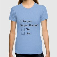 I Like You Womens Fitted Tee Tri-Blue SMALL