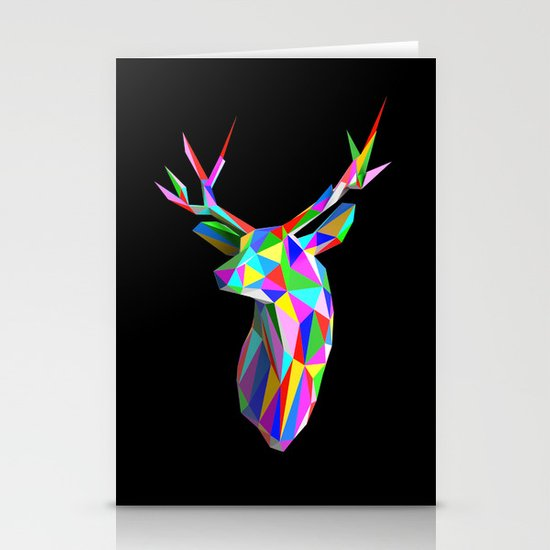 3D Stag Black Background Stationery Card