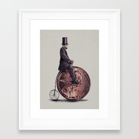 Penny Farthing (grey option) Framed Art Print