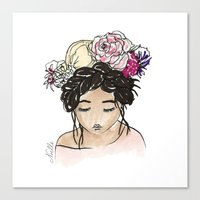 Flower Crown Clara Canvas Print