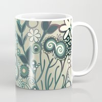 Detailed square of green and ocre floral tangle Mug