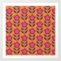 Retro Bloom Purple 5 Art Print