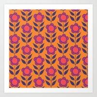Retro Bloom Purple 5 Art Print