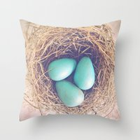 Blue Eggs Throw Pillow