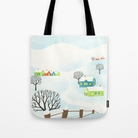 Snowy Little Town Tote Bag