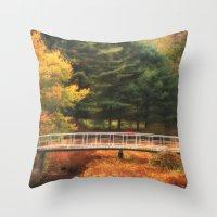 Throw Pillow featuring Bridge to Autumn by Karol Livote