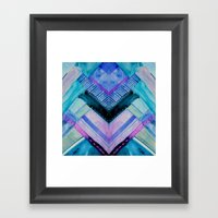 Blue Patchwork Framed Art Print