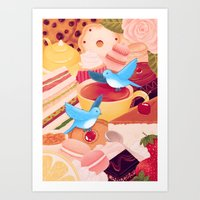 Tea Time Poesy Art Print