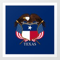 Art Print featuring Texas Flag And Eagle Cre… by Bruce Stanfield