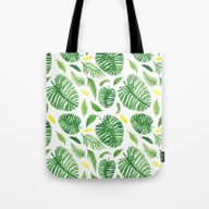 Tote Bag featuring Palm Leaf Pattern by Lina Littlefield