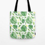 Palm Leaf Pattern Tote Bag