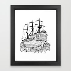 Sail Ship On Sea Framed Art Print