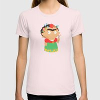 Frida Kahlo Womens Fitted Tee Light Pink SMALL