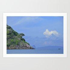 Long boat along the coast Art Print