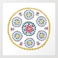 Suzani inspired floral blue 3 Art Print