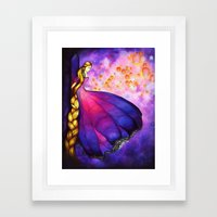 Rapunzel And Lanterns Framed Art Print