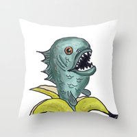 Piranha Banana Throw Pillow