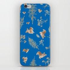 blue holiday corgis and twigs iPhone & iPod Skin