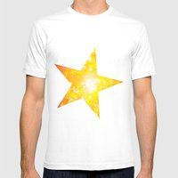 Shimmering Stars Orange Mens Fitted Tee White SMALL