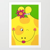 Giraffe Love Art - Cute,… Art Print
