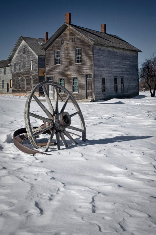 Wagon wheel in winter at the mining ghost town at Fayette Art Print