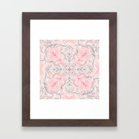 Peaches and Cream Doodle Tile Pattern Framed Art Print