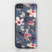iPod Touch Cases featuring Butterflies and Hibiscus Flowers - a painted pattern by micklyn