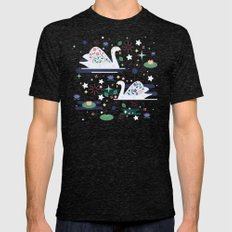Swans on Stars  Mens Fitted Tee Tri-Black SMALL