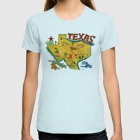 Postcard From Texas Prin… Womens Fitted Tee Light Blue SMALL