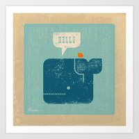 Whale Says Hello To Bird Art Print
