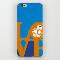 Robot LOVE - Orange iPhone & iPod Skin