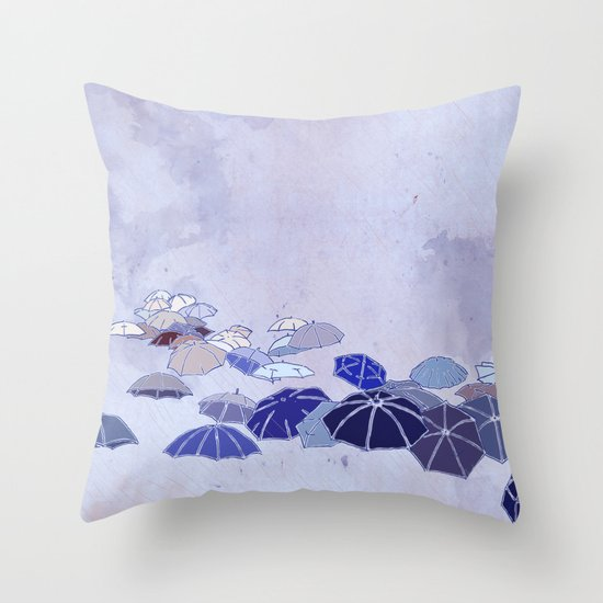 Rainy day blues Throw Pillow