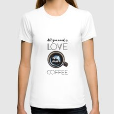 Love & Coffee Womens Fitted Tee White SMALL