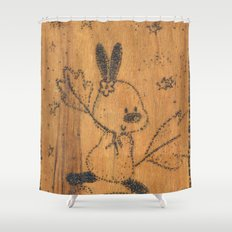 Cute little animal on wood Shower Curtain
