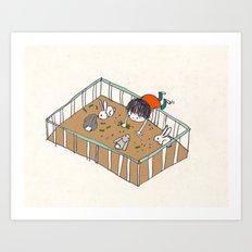 feeding the bunnies Art Print